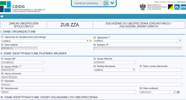Внесение изменений в CEIDG и заполнение заявления ZUS ZZA